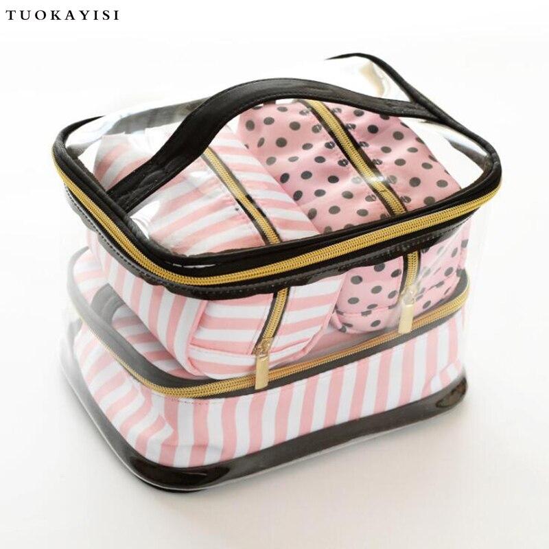Nouveau sac cosmétique de voyage femmes fermeture éclair maquillage Transparent étui de maquillage organisateur pochette de rangement trousse de toilette beauté lavage Kit sacs