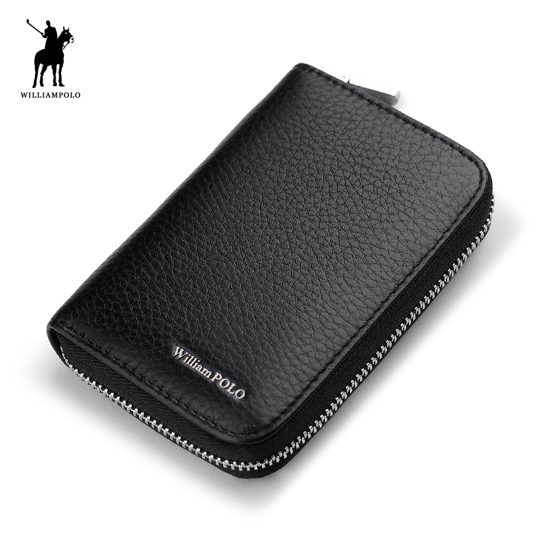 WILLIAMPOLO 2018 Brand Hot Sale Genuine Leather Unisex Card Holder Wallets Male Credit Card Holder Pillow Purse POLO255 hot sale 2015 harrms famous brand men s leather wallet with credit card holder in dollar price and free shipping
