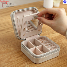 1 PU Leather Portable Mini Jewelry Case Travel Packing Box Makeup Organizer Cosmetic Mirror Earring Ring Necklace Storage Casket недорого