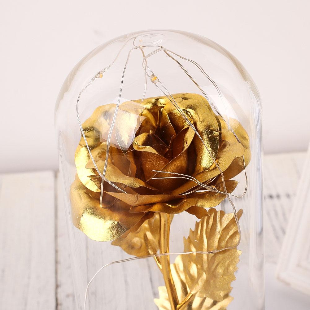 Светодиодный стеклянный чехол с вечным цветком, 24 K, золотые вечерние подарки, сохраненное цветочное свадебное украшение Роза из золотистой фольги, романтические