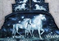 Единорог постельных принадлежностей 3D лошадь простыня и пододеяльник кровать в Сумка льняная король королева размер ПОЛНЫЙ twin двойной жив