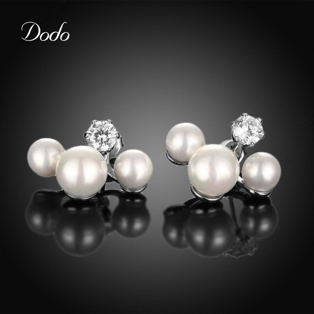 bb6616392a90 Pendientes de broche para el compromiso de la boda vintage simulado perla  oro blanco color cristal joyería Accesorios regalo caliente de279