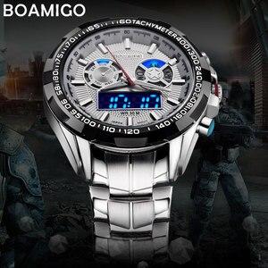 Image 3 - Boamigo 최고 럭셔리 브랜드 남자 스포츠 시계 군사 패션 비즈니스 철강 디지털 쿼츠 시계 선물 시계 relogio masculino