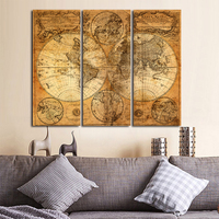 MONICA Vintage World Map 3 Panel Canvas Painting Oil Paint Print On Canvas Picture Wall Print Picture Living Room Unframed