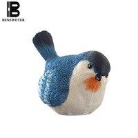 Pastoral Style Natural Resin Birds Decoration Home Garden Emulate Animals Flower Pot Mini Figurines Art Miniatures