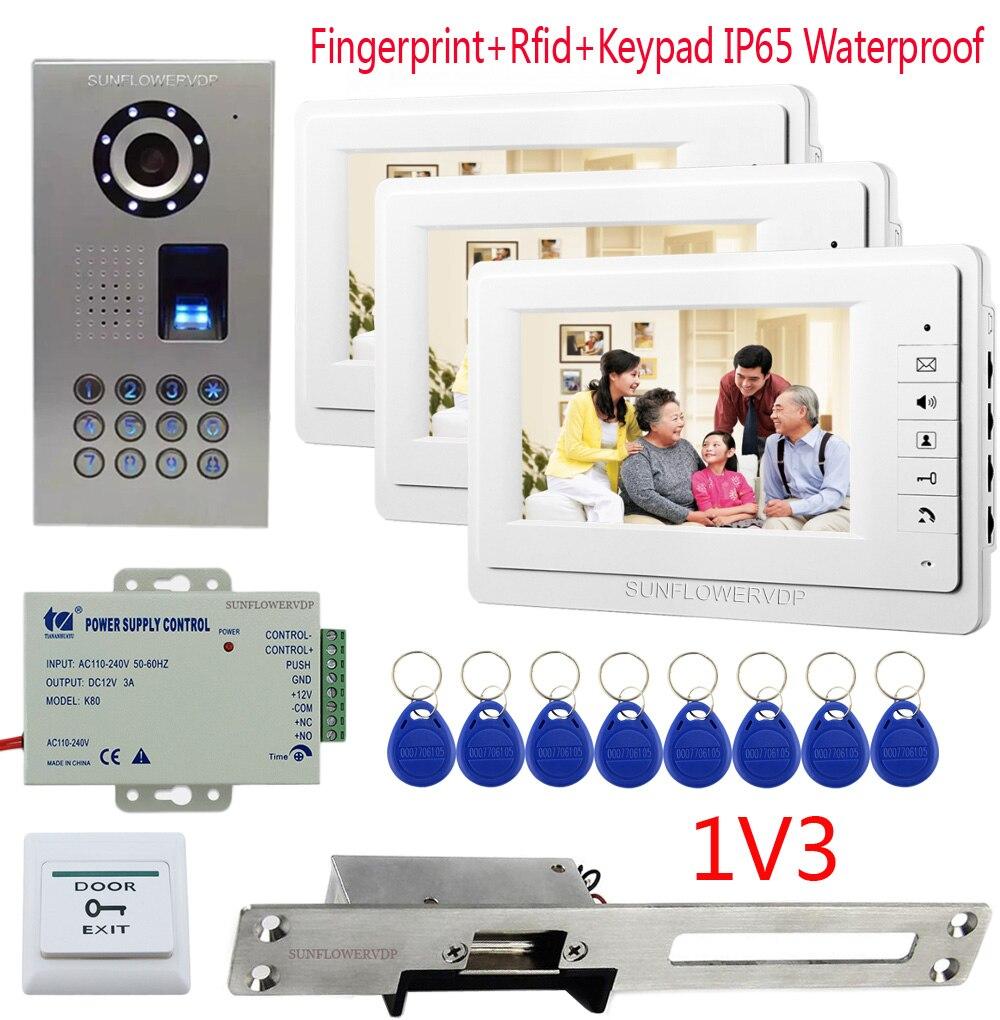 1V3 Fingerprint Rfid Keypad Doorbell With Camera 7 Color Monitor Video Intercom + long Plate European Narrow-type Door Lock