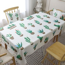 Decorative Cactus flamingo Print polyester Tablecloth green plant Party Banquet Table cloth Coffee table cloth Cover