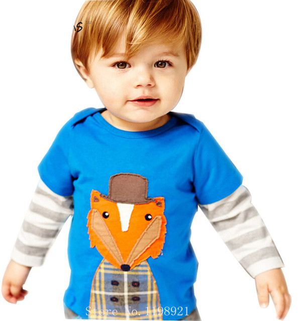 Spring Autumn Boys Clothes Cotton Character Fox O-neck Bobo Choses Children Kids  Clothes Boys Girls T shirt
