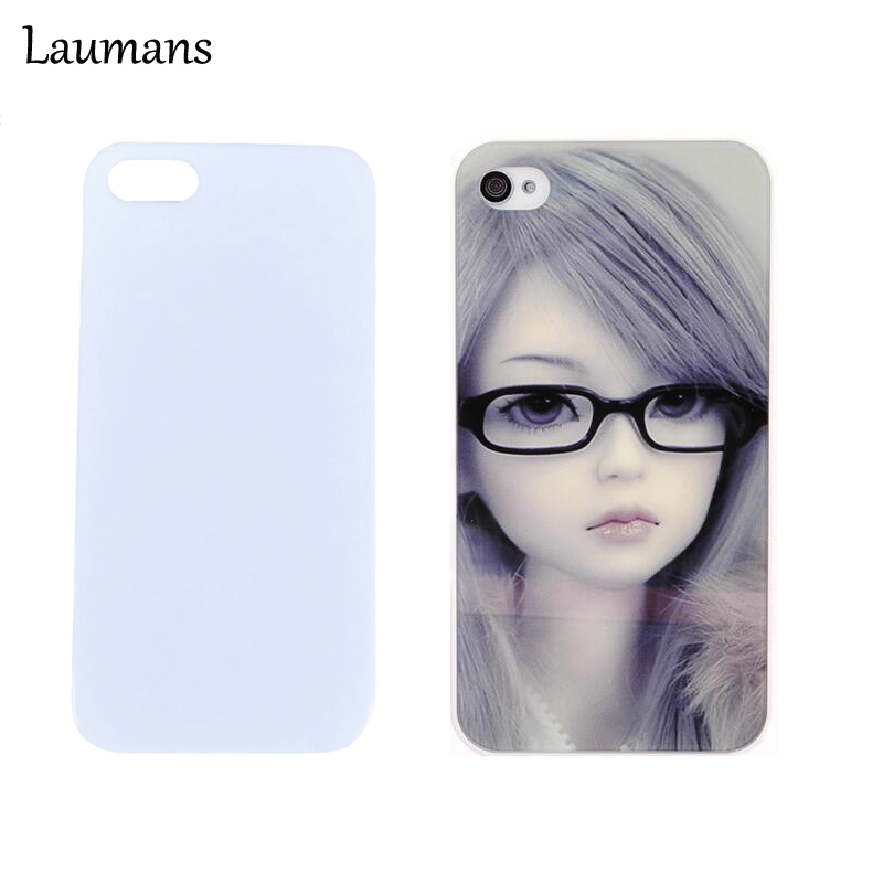 imágenes para Laumans 50 unids/lote 3 Colores cajas del teléfono para el iphone 5 caso 5S Blanco Impresión en blanco DIY UV Mate Suave Cubierta de la Caja Para i6 6 plus 7