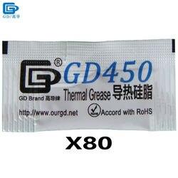 GD450 pâte de graisse thermique Silicone plâtre dissipateur de chaleur composé 80 pièces poids Net 0.5 gramme d'or pour LED GPU refroidisseur de processeur MB05
