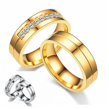 2019 Gold Silver Color Wedding Rings for Women Men Jewelry 6mm Stainless Steel Engagement Couple With Rhinestone