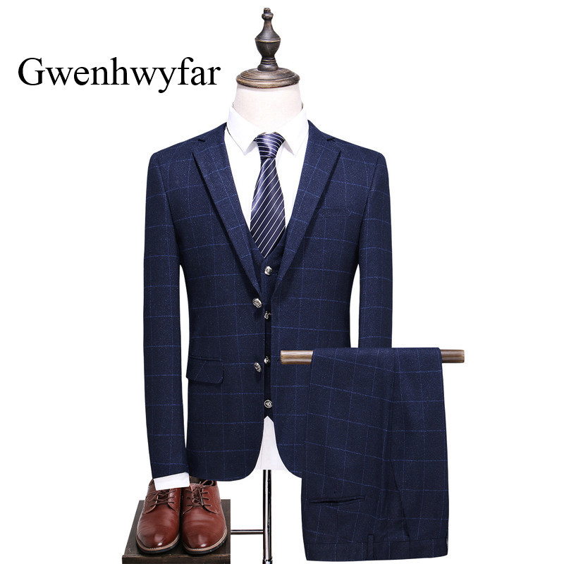 (Jacket+Vest+Pants)2018 New Navy Blue Plaid Men Suits High Quality Notch Collar Business Men Daily Party Tuxedo For Formal Prom