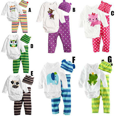 Emmababy100% Cotton Baby Clothes Set Print 3PCS Kids Baby Girls Boys Unisex Full Sleeve Bodysuit+Striped Pants+Hat Outfits Sets 3pcs baby boy girl kids newborn infant bodysuit pant hat outfits striped baby clothing set geometry baby boys clothes 0 18m