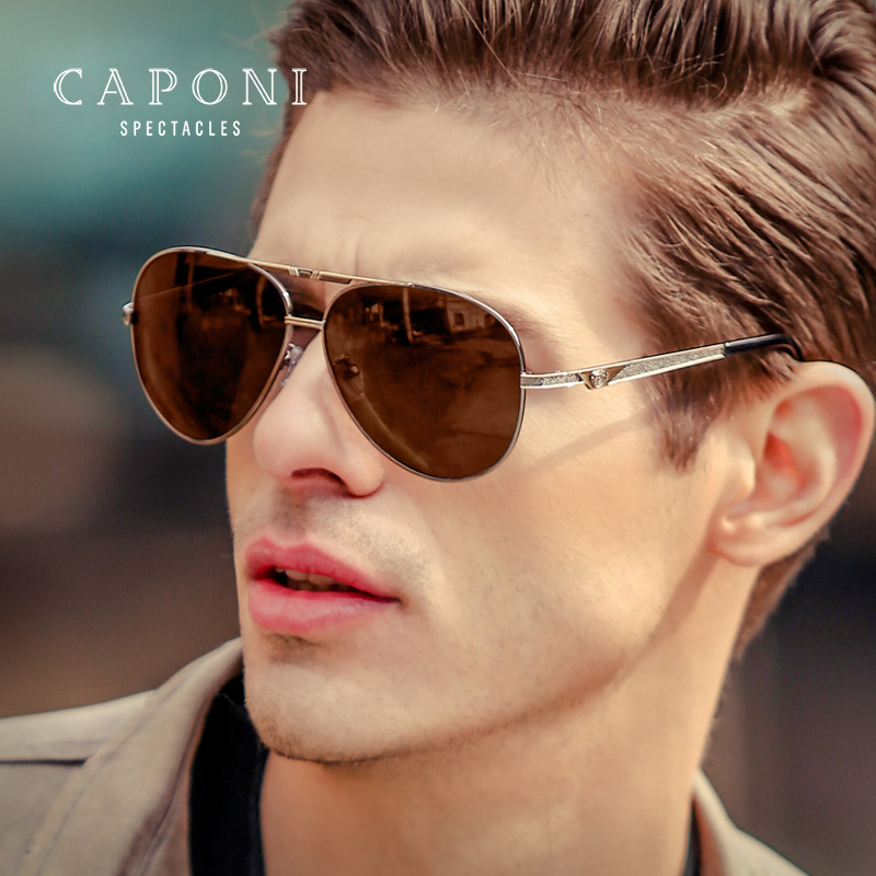Caponi Men Pilot Polarized Photochromic Sunglasses UV400 Protection For Driving BSYS8276 reedoon 6488 men s fashionable resin lens uv400 protection polarized sunglasses silver grey