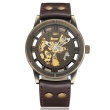 Vintage Bronze Hommes Montres Squelette Horloge Mâle Bracelet En Cuir Antique Steampunk Casual Automatique Squelette Mécanique Montres