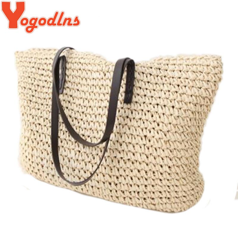 Yogodlns Hot Fashion Simple Hollow Beach Bags Women Straw Bag Vintage Knitted Big Tote Bags Shoulder Bags