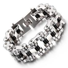 цены Fashion 22mm 23cm Silver Black Stainless Steel Bike Bracelet Men Biker Bicycle Motorcycle Chain Bracelets Bangles Jewelry