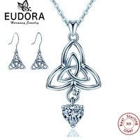 Eudora 925 Love Sterling Silver Heart Pendant Neckalce Drop Earrings Fashion Elegant Jewelry Set Birthday Gift for girl women