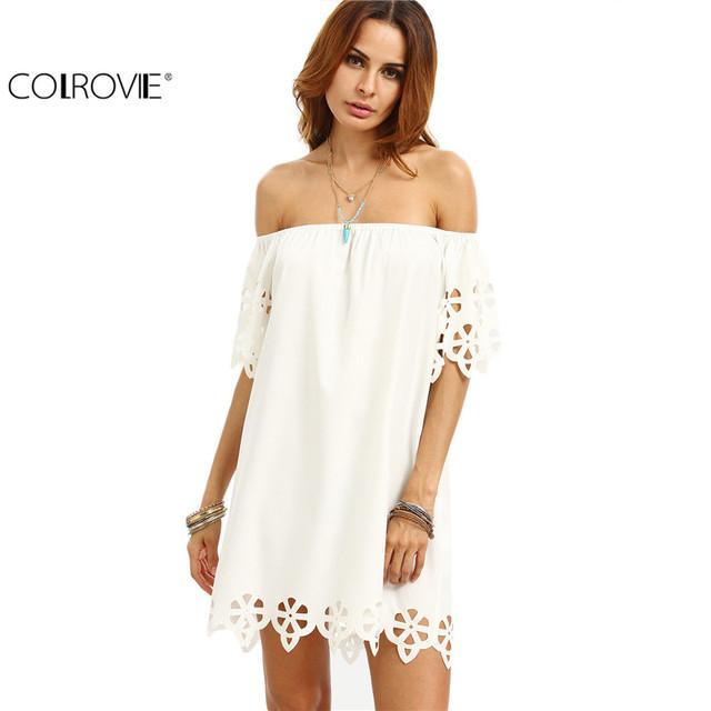 Colrovie 2017 entalhe branco off the shoulder vestidos turno escritório senhoras verão meia manga hetero mini dress