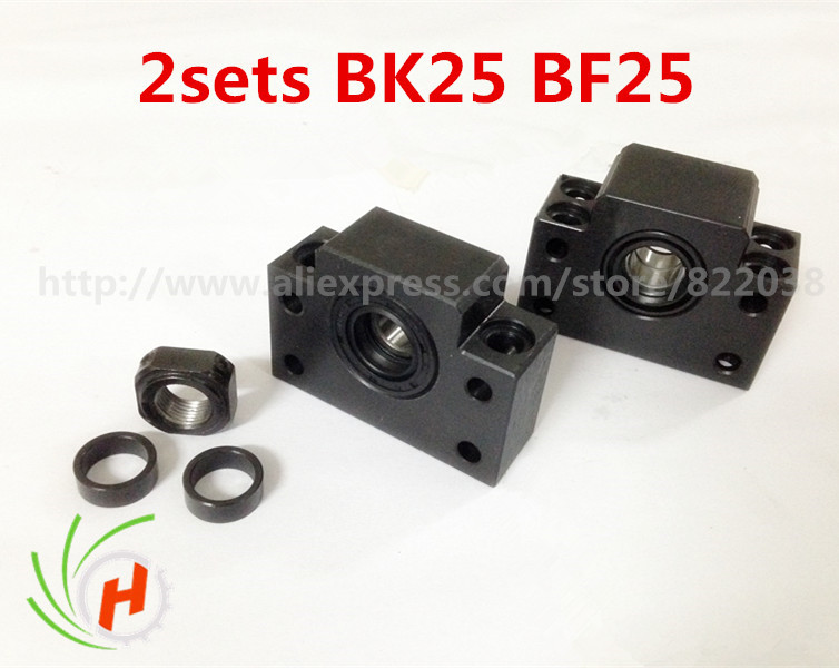2pc BK25 and 2pc BF25 Ball screw end support for SFU3205 SFU3210CNC noulei 1pcs bk25 c3 and 1pcs bf25 c3 ball screw end support for sfu3205 sfu3210cnc