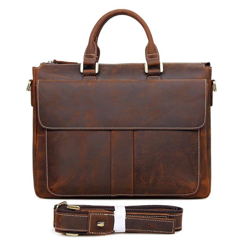 """Для Мужчин's портфели Crazy Horse кожа коричневый 15 """"Бизнес Путешествия плеча рук курьерские Сумки сумки через плечо мужской кожаные сумочки"""