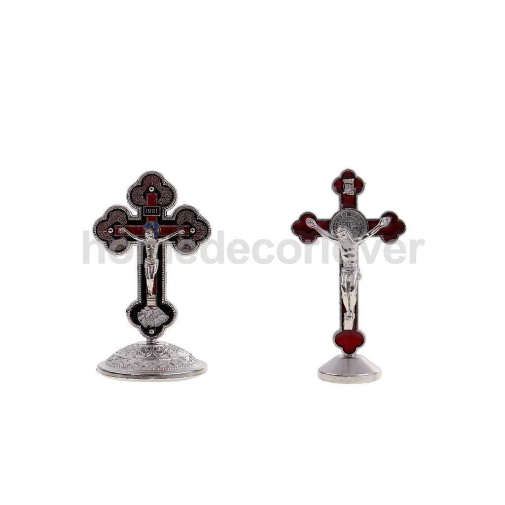 2 Pieces Alloy Jesus Christ Figurine Statue INRI Cross Crucifix for Car House Office Chapel Ornament Adornment