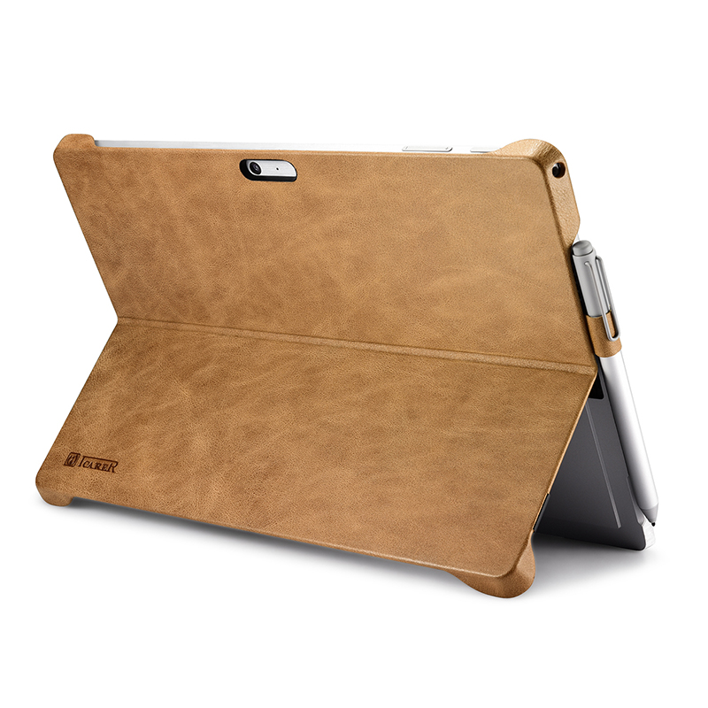 ICARER Microsoft Surface Pro 4 Case Stand Cover Compatible W/ Surface Pro 4 Shenzhou Genuine Leather Back Case For Surface Pro 4
