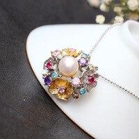 Retro Thai Silver Wholesale Handmade Natural Pearl Pendant Flower S925 Sterling Silver Fashion Female Pendant