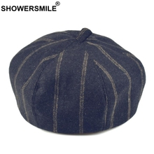 SHOWERSMILE Winter Hats Berets Women Striped Navy Blue Wool French Artist Caps Female British Style Vintage Warm Painters Hats