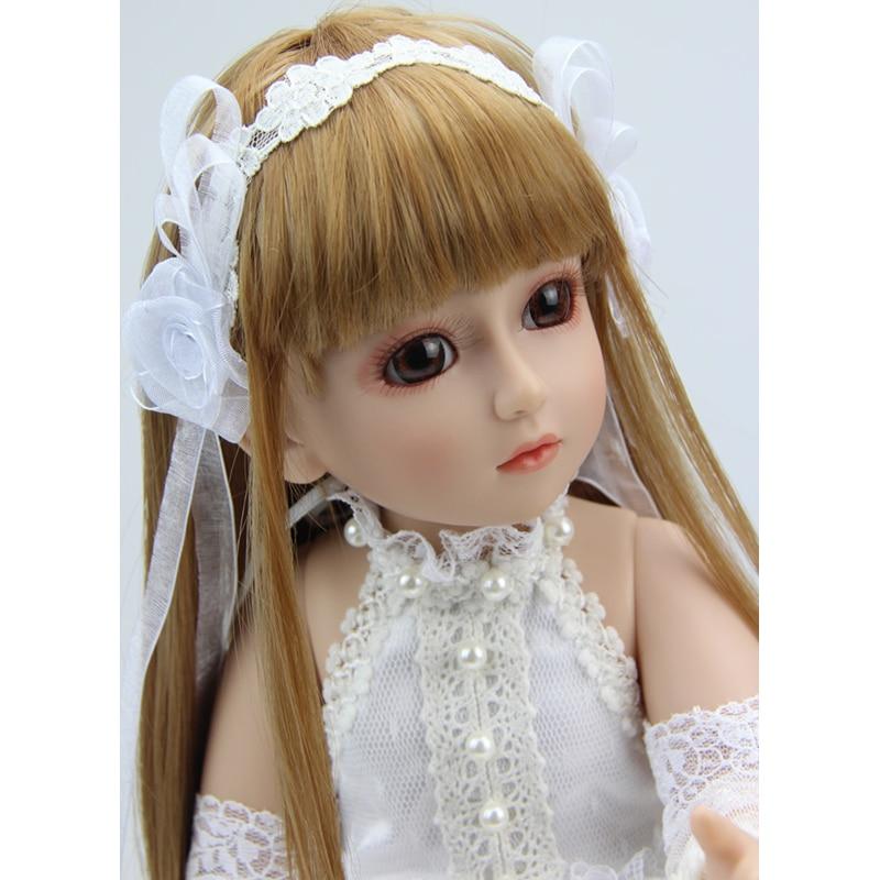 18 pouces Reborn bébé poupée balle articulée BJD SD dur Vnyl jouet fille pour enfants enfants pull Brinquedos Juguetes neige blanc princesse