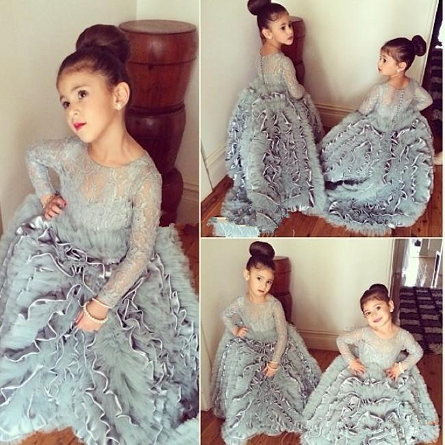 Silver 2019 Flower Girl Dresses For Weddings Ball Gown Long Sleeves Tulle Ruffles Long First Communion Dresses For Little Girls