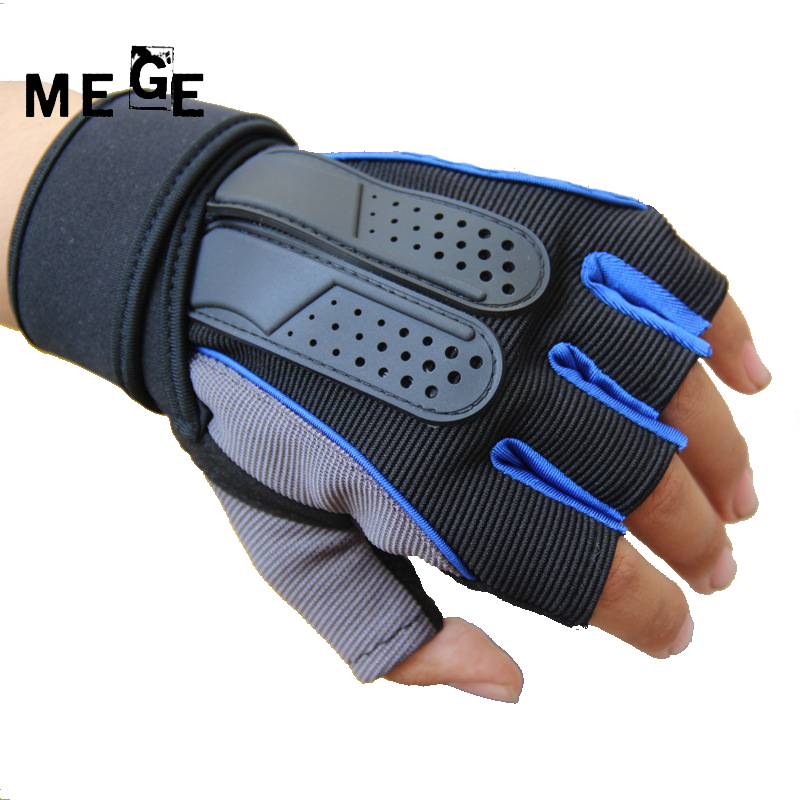 MEGE Brand Half Finger With Wrist Support Fitness Weightlifting Gloves Non-Slip Breathable EVA Thick Bicycle Gloves Men Women