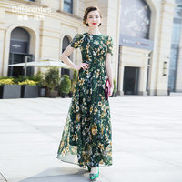 Chiffon Summer Beach Runway Party Dress Green Maxi Women's Evening Flowers Dress Retro Printed Long Dress 6783