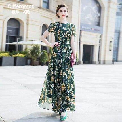 Mousseline de soie été plage piste robe de soirée vert Maxi femmes soirée fleurs robe rétro imprimé longue robe 6783