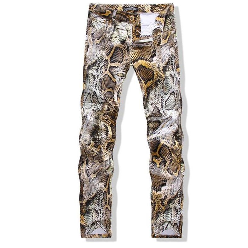 Fashion 2020 Autumn Slim Fit Snake Skin Printed Straight Club Stylist Dance Performance Pencil Pants Men Casual Bottoms 29-38