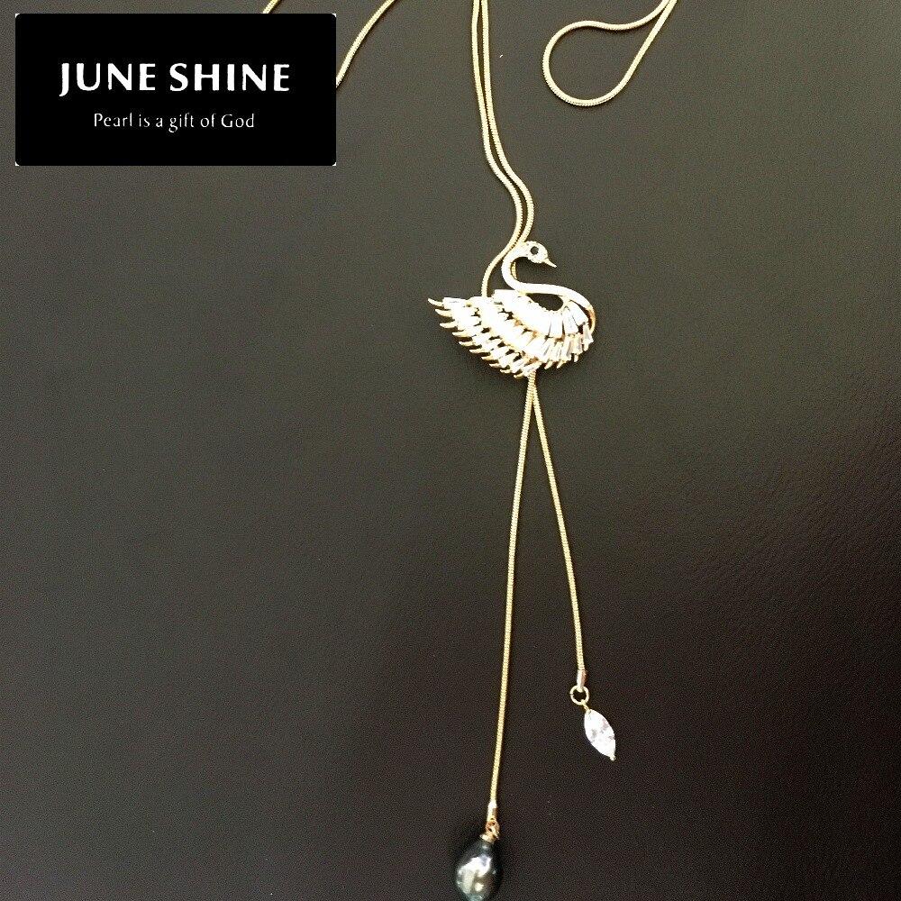 Cygne perle chandail chaîne collier véritable perle de tahiti 14K roulé or cristal intégré femmes bijoux cadeau longueur réglable NL018