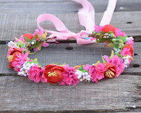 Berry Carnations Camellia Flower Halo Bridal Floral Crown Hair Wreath Mint Head Wreath Wedding Accessories Headpiece