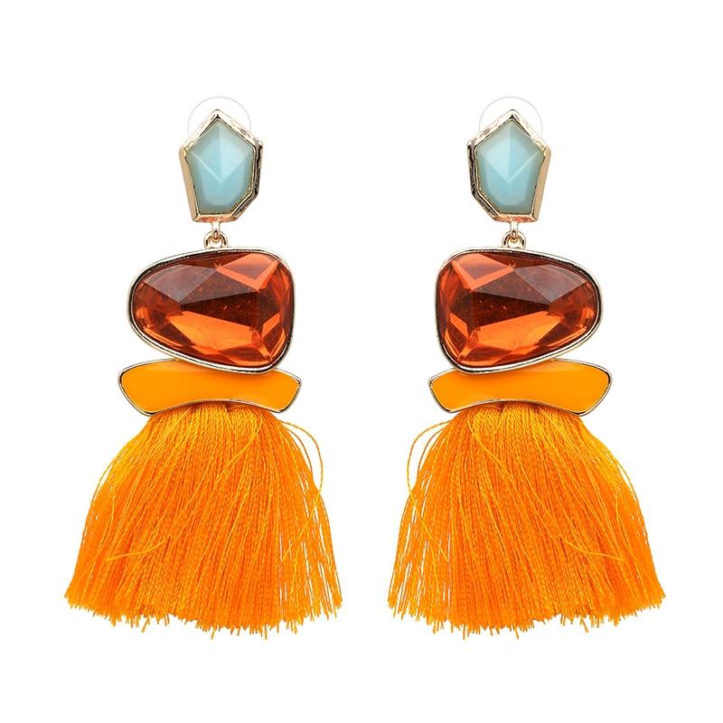 JURAN 2019 New Fringed Statement Earrings Wedding Tassel Multicolored Hot Fashion STUD Earrings Jewelry Women Brinco Christmas