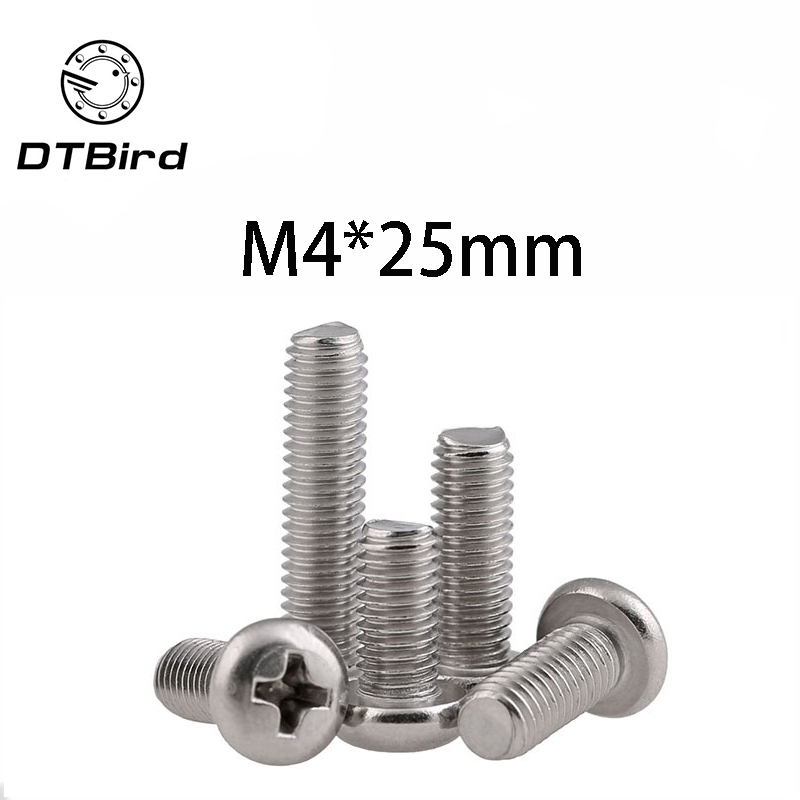 Free Shipping 100pcs/Lot GB818 <font><b>M4x25</b></font> mm M4*25 mm 304 Stainless Steel Phillips Cross recessed pan head Screw DT2 image