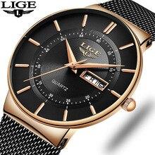 LIGE Mens Watches Gift Top Brand Luxury Waterproof Wrist Watch Ultra Thin Date Q