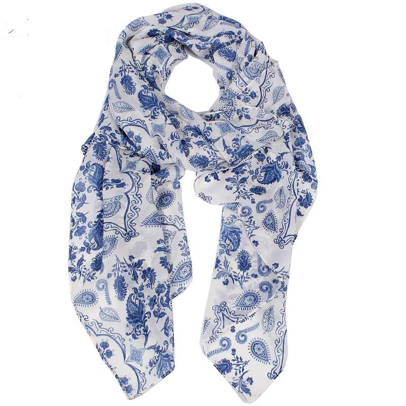 Scarves Women 2018 Fur Fashionable Handkerchiefs Blue Cashew Flowers Chiffon Summer  Print Pashmina Long Scarf 180*70cm