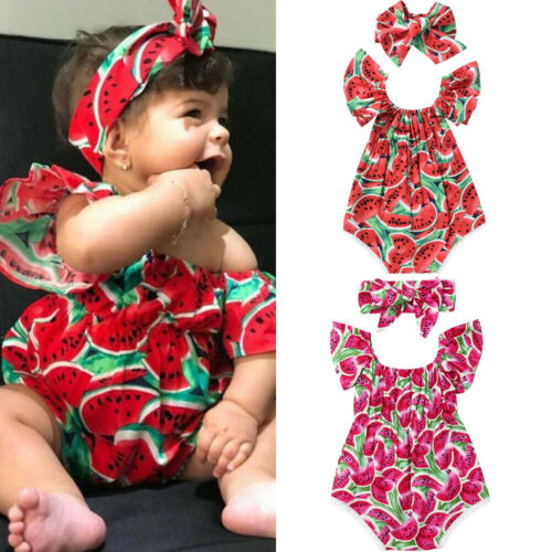 2020 Baby Girl Summer Clothing Watermelon Romper Jumpsuit Headband Outfit For Kid Clothes Toddler Children Newborn