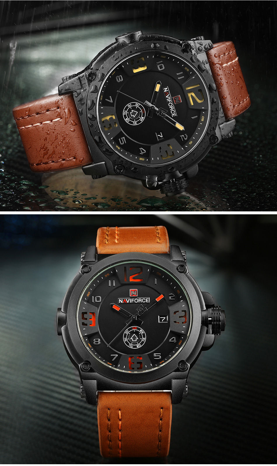 NAVIFORCE Top Luxury Brand Men Sports Military Quartz Watch Man Analog Date Clock Leather Strap Wristwatch Relogio Masculino HTB1 Iime8WD3KVjSZFsq6AqkpXau