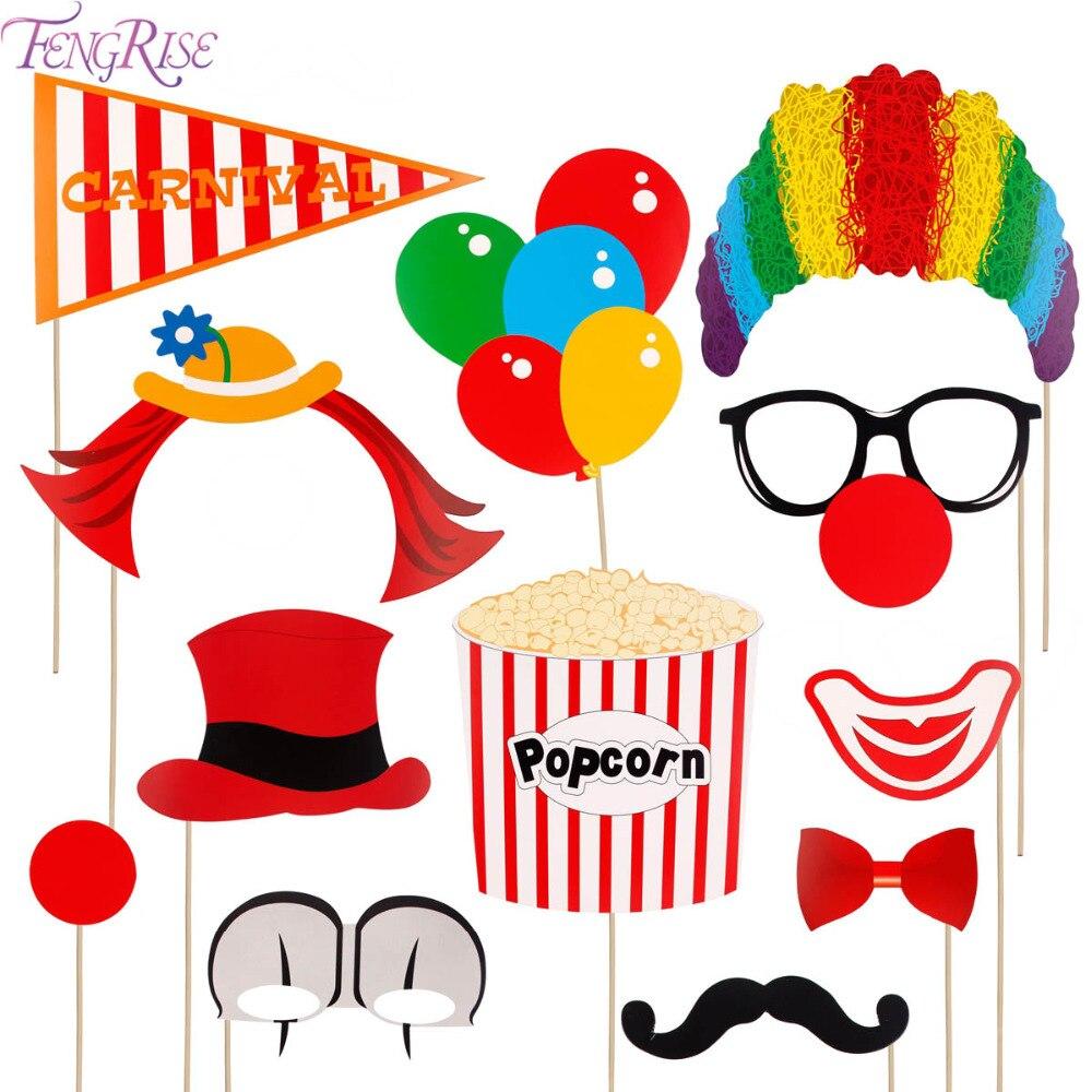 FENGRISE 12pcs Circus Clown Photo Booth Props DIY Fun