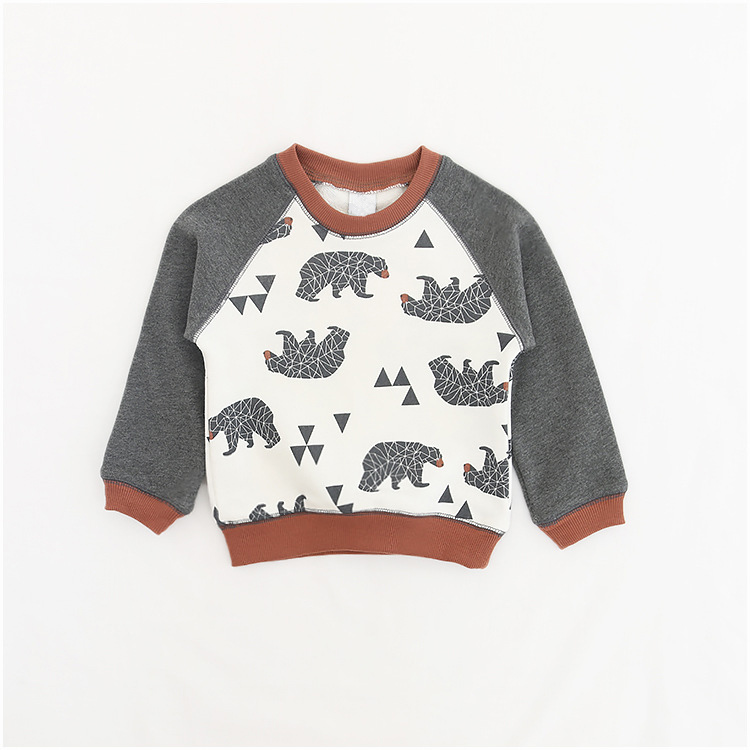 2017 New Arrival Boys Bear Long Sleeve Sweatshirt Tops Spring Autumn Children O-Neck Cotton Hoodies Baby Girl Sweatshirt Clothes