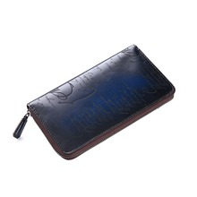 TERSE_Wholesale price mens leather wallet handmade genuine leather purse with phone pocket vintage engraving custom service