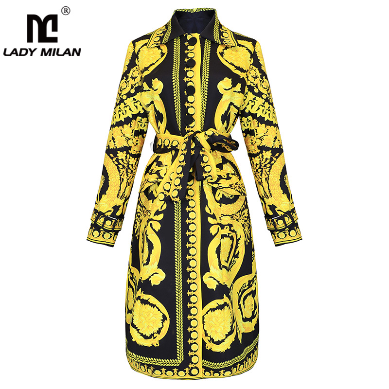Lady Milan 2019 Women's Outerwear Tops Turn Down Collar Long Sleeves Printed High Street Fashion Casual   Trench   Coats