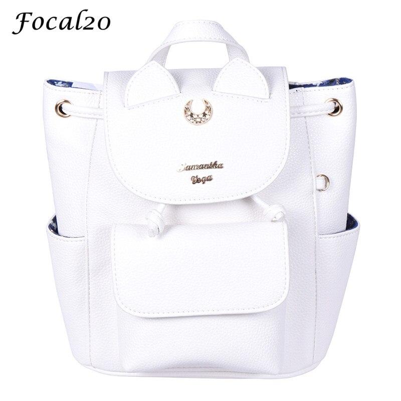 Focal20 PU Leather Sailor Moon 25th Anniversary Luna Backpack Female Hasp Drawstring Black White Women Backpack Travel Bag
