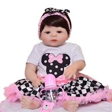 """Realista 23 """"57 cm renacer vivo muñecos de cuerpo completo de silicona muñeca de juguete para los niños es el Festival de Navidad regalos usar Checker falda"""