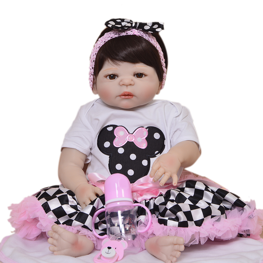 Realistico 23 ''57 cm Reborn Alive Dolls Corpo Pieno di Silicone Bambola Giocattolo Del Bambino Per I Bambini Festival di Giorno di Natale regali di Usura Checker Pannello Esterno